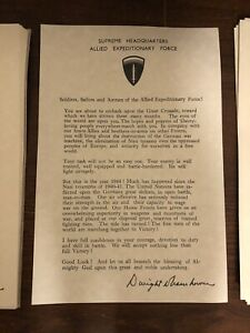 Exact replica WWII D-Day letter Ike Eisenhower