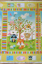 "Woodland Cuties Owl Fox Porcupine Henry Glass Baby Fabric 23"" Panel #9970P"