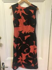 JAEGER - 100% silk; Stunning Coral and Black shift dress, size 8 (more of a 10)