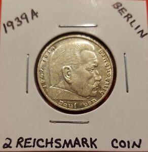 WWII 1939 A GERMAN 2 REICHSMARK COIN A MINT (BERLIN)
