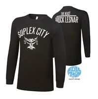 New WWE Brock Lesnar  Suplex City Long Sleeve Mens Black T-Shirt