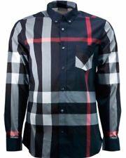 Burberry London men's navy long sleeve casual check button down shirt s,2xl,3xl