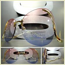 KIDS CHILDRENS RETRO Style SUN GLASSES Upside Down Gold Frame Pink & Blue Lens