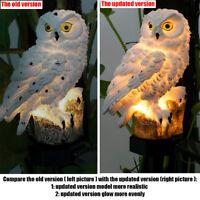 NEW Solar Garden Lights Owl Ornament Animal Bird Outdoor LED Decor Sculpture esz