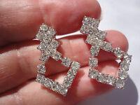 Beautiful art deco style crystal 5 gram 3 cm silverplated pierced post earrings