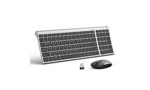 Rechargeable Wireless Keyboard Mouse, Jelly Comb 2.4GHz Ultra Slim