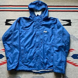 Helly Hansen Helly Tech Hooded Rain Jacket Mens Size Large Solid Blue