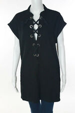 Court Shop Black Cotton Rope Lace Up Detail Two Pocket Dress Size Extra Small