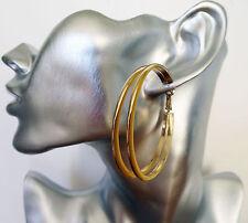 Fab Enamel Yellow Edged Double Hoop Dangle Drop Earrings in Gold Tone 5 cms