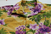 Hilo Hattie Mens Hawaiian Button Down Tropical Shirt Yellow Flower Large EUC