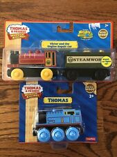 THOMAS & FRIENDS WOOD TRAINS LOT 2 NEW VICTOR AND THE ENGINE REPAIR CAR & THOMAS