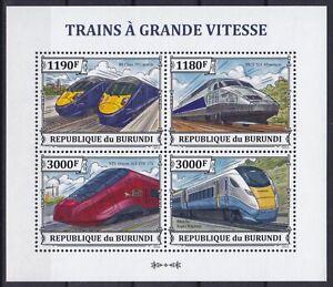 Burundi  3328 - 3331 KB / Sheet **, Schnellzüge / Fast Trains (10 ME)