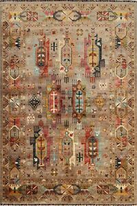 6'x8' Geometric Vegetable Dye Ziegler Oriental Area Rug Hand-knotted Wool Tribal