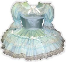 """Amanda"" Custom Fit MINT Satin RUFFLES Bows Adult LG Baby Sissy Dress LEANNE"
