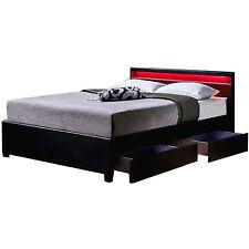 Doppelbett Schubkastenbett inkl. LED, Schubkasten+Lattenrost 180x200 cm Schwarz