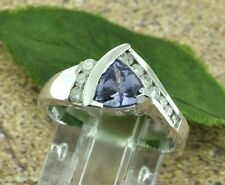 14k Solid White Gold Natural Diamond & AA Trillion Cut Tanzanite Ring 1.21 ct