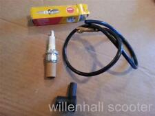 LAMBRETTA NGK SPARK PLUG WITH CAP AND HT CABLE ADOPTER NEW SET OF 3