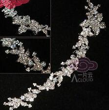 "Hair Tiara Chain 9"" Diy Craft Flowers Leaves Rhinestone Crystal Wedding Bridal"