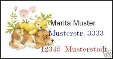 WE3506# 40 Adressetiketten **** Hund & Katze ganz lieb *