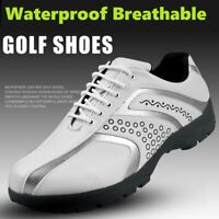 Mens Leather Waterproof Golf Shoes Non-slip Spikes Sneakers Wearable Sport Shoes