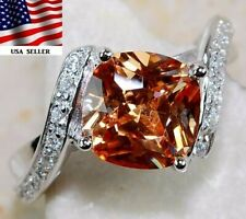 3CT Padparadscha Sapphire & Topaz 925 Sterling Silver Ring Jewelry Sz 6, M2
