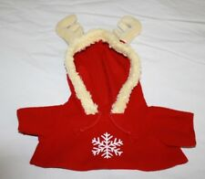 Small Toy Breed Dog Shirt Coat Red XMAS REINDEER ANTLERS Soft Fleece Hooded