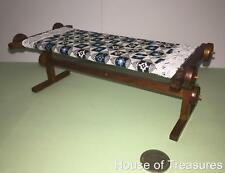 DOLLHOUSE FURNITURE**WOODEN QUILTING /TAPESTRY TABLE +QUILT +NEEDLE** COLLECTORS