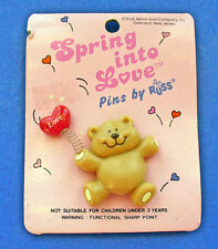 Russ Pin Valentines Vintage Bear Heart Balloon Love Teddy Holiday Brooch New