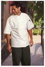 White Chef Coat, Knot Buttons, Short Sle 00006000 eve, Size: Large - 484