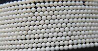 """DYED CORAL ROUND, SMOOTH BEADS - 3mm EACH - 16"""" STRAND - WHITE/CREAM"""
