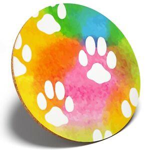 1 x Rainbow Paw Cat Kitten Dog - Round Coaster Kitchen Student Kids Gift #13211