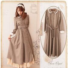 Japanese Vintage Elegant Mori Girl Sweet Lolita Preppy Style Slim Winter Dress