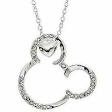 DISNEY MICKEY MOUSE CRYSTALS & HEART SILVER PENDANT NECKLACE**RARE/NEW!**2 LEFT!