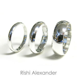 925 Sterling Silver High Polished Wedding Band Ring All Sizes