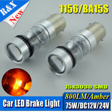 2x 1156  Amber Led Bulb Reverse Turn Signal Light lamp 75W 3030 800LM AC 12V 24V