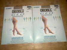 OROBLU GEO 8 DEN II= Medium Sable Sheer to Waist Sandalfoot Pantyhose SET of 2