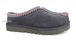 UGG Tasman Dark Grey Suede Fur Slippers Womens Size 11 *NEW*