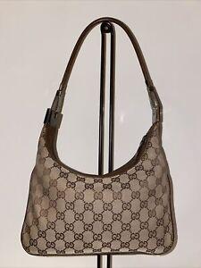 GUCCI Brown GG Monogram Jacquard & Leather Vintage Women's Shoulder Handbag Auth