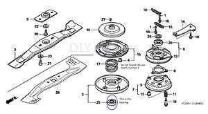 Roto-Stop Bearing Fits Honda HRD535, HRH536 HRA 536- 91103-VA4-003