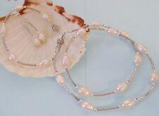 WHITE FRESHWATER PEARL Necklace, Bracelet, Earrings Matching Set. White Gold Fil