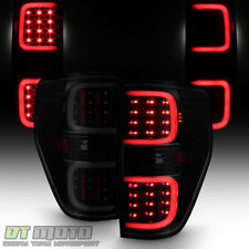 Black Smoked 2009-2014 Ford F150 F-150 LED Pyro Tube Tail Lights Brake Lamps Set