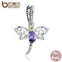 Bamoer New S925 Sterling Silver insects Style Charm dragonfly with Purple Zircon