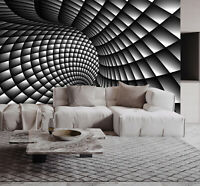 3D Abstract Black and White Swirl Self-adhesive Living Room Wallpaper Murals