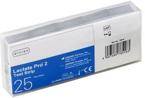 Arcray Lactate Pro 2 Test Strips - 25 Lactat-Teststreifen New+ Boxed By Med. Fh