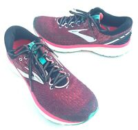 Brooks Ghost 11 Womens Size 12 B Running Training Shoes Sneakers Red Pink White