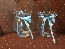 Anchor Hocking Fluted Clear Glass Fish Bowl Candle Holder Wedding Centerpiece