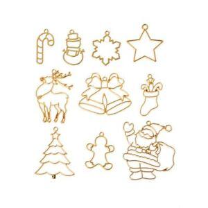 10Pcs Christmas Tree Santa Claus Metal Frame Pendant Open Bezel UV Resin Jewelry