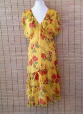 Sundance Catalog 14 Dress SILK Yellow Floral Ruffles M L Casual Festive Party