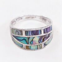 Size 8, Vtg Handmade Ring in Sterling Silver N Abalone - Stamped 925