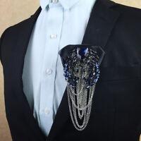 Men Groom Bow Tie Crystal Rhinestone Flower Metal Tassles Neck tie Wedding Decor